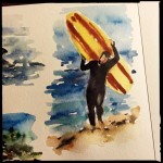 Stephen the Surfer, watercolor