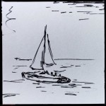 Sailboat, ink