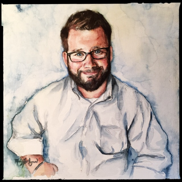 Stephen Ingram, 12x12 watercolor on canvas