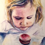 """The Macaron,"" 20x25 watercolor on canvas"