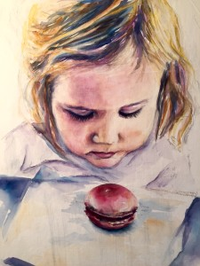 """""""The Macaron,"""" 20x25 watercolor on canvas"""